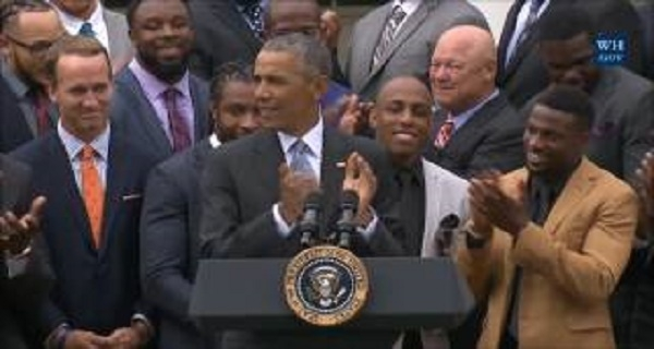 Barack Obama hosts Broncos at White House